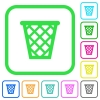 Trash vivid colored flat icons - Trash vivid colored flat icons in curved borders on white background