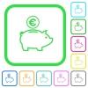 Euro piggy bank vivid colored flat icons - Euro piggy bank vivid colored flat icons in curved borders on white background
