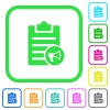 Note reading aloud vivid colored flat icons - Note reading aloud vivid colored flat icons in curved borders on white background
