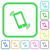 Ringing phone vivid colored flat icons - Ringing phone vivid colored flat icons in curved borders on white background