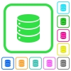 Single database vivid colored flat icons - Single database vivid colored flat icons in curved borders on white background