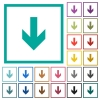 Down arrow flat color icons with quadrant frames - Down arrow flat color icons with quadrant frames on white background