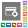 Credit card certified service provider square flat icons - Credit card certified service provider flat icons on simple color square backgrounds