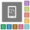 Mobile gyrosensor square flat icons - Mobile gyrosensor flat icons on simple color square backgrounds