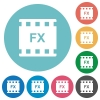 Movie effects flat round icons - Movie effects flat white icons on round color backgrounds