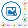 Image settings icons with shadows and outlines - Image settings flat color vector icons with shadows in round outlines on white background