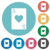 Five of hearts card flat white icons on round color backgrounds