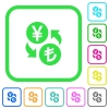Yen Lira money exchange vivid colored flat icons - Yen Lira money exchange vivid colored flat icons in curved borders on white background