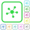 Network connections vivid colored flat icons - Network connections vivid colored flat icons in curved borders on white background