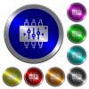 Chip tuning luminous coin-like round color buttons - Chip tuning icons on round luminous coin-like color steel buttons