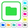 Single folder vivid colored flat icons - Single folder vivid colored flat icons in curved borders on white background