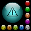 Triangle shaped warning sign icons in color illuminated glass buttons - Triangle shaped warning sign icons in color illuminated spherical glass buttons on black background. Can be used to black or dark templates