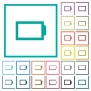 Empty battery without load units flat color icons with quadrant frames - Empty battery without load units flat color icons with quadrant frames on white background