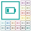 Low battery with one load unit flat color icons with quadrant frames - Low battery with one load unit flat color icons with quadrant frames on white background