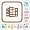Office block simple icons - Office block simple icons in color rounded square frames on white background