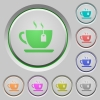 Cup of tea with teabag push buttons - Cup of tea with teabag color icons on sunk push buttons