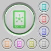 Mobile social networking push buttons - Mobile social networking color icons on sunk push buttons