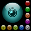 Timer icons in color illuminated glass buttons - Timer icons in color illuminated spherical glass buttons on black background. Can be used to black or dark templates