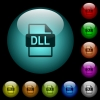 DLL file format icons in color illuminated glass buttons - DLL file format icons in color illuminated spherical glass buttons on black background. Can be used to black or dark templates