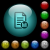 Save document icons in color illuminated glass buttons - Save document icons in color illuminated spherical glass buttons on black background. Can be used to black or dark templates