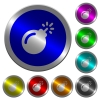 Bomb with sparkling fuse luminous coin-like round color buttons - Bomb with sparkling fuse icons on round luminous coin-like color steel buttons