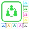 Online users vivid colored flat icons - Online users vivid colored flat icons in curved borders on white background