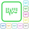 Music waves vivid colored flat icons - Music waves vivid colored flat icons in curved borders on white background