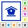 Bird feeder flat color icons in square frames on white background - Bird feeder flat framed icons