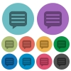 Message box with rows color darker flat icons - Message box with rows darker flat icons on color round background