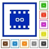 Link movie flat framed icons - Link movie flat color icons in square frames on white background
