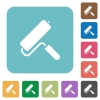 Paint roller rounded square flat icons - Paint roller white flat icons on color rounded square backgrounds