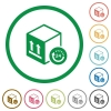 One day package delivery flat icons with outlines - One day package delivery flat color icons in round outlines on white background