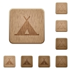 Tent wooden buttons - Tent on rounded square carved wooden button styles