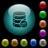 Export database icons in color illuminated spherical glass buttons on black background. Can be used to black or dark templates - Export database icons in color illuminated glass buttons