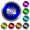 Hardware diagnostics luminous coin-like round color buttons - Hardware diagnostics icons on round luminous coin-like color steel buttons
