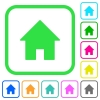 Home vivid colored flat icons - Home vivid colored flat icons in curved borders on white background