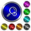 Save search results icons on round luminous coin-like color steel buttons - Save search results luminous coin-like round color buttons