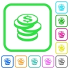 Stack of Dollar coins vivid colored flat icons - Stack of Dollar coins vivid colored flat icons in curved borders on white background