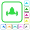 Ringing bell vivid colored flat icons - Ringing bell vivid colored flat icons in curved borders on white background