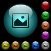 Single picture icons in color illuminated glass buttons - Single picture icons in color illuminated spherical glass buttons on black background. Can be used to black or dark templates