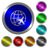 World travel icons on round luminous coin-like color steel buttons - World travel luminous coin-like round color buttons