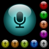 Single microphone icons in color illuminated glass buttons - Single microphone icons in color illuminated spherical glass buttons on black background. Can be used to black or dark templates