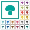 Mushroom flat color icons with quadrant frames - Mushroom flat color icons with quadrant frames on white background