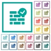 Active firewall flat color icons with quadrant frames - Active firewall flat color icons with quadrant frames on white background