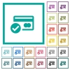Credit card verified flat color icons with quadrant frames - Credit card verified flat color icons with quadrant frames on white background