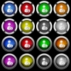 User account information white icons in round glossy buttons on black background - User account information white icons in round glossy buttons with steel frames on black background. The buttons are in two different styles and eight colors.
