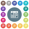 Hanging calendar flat white icons on round color backgrounds - Hanging calendar flat white icons on 17 round color backgrounds