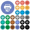 Shared printer round flat multi colored icons - Shared printer multi colored flat icons on round backgrounds. Included white, light and dark icon variations for hover and active status effects, and bonus shades on black backgounds.