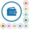 Israeli new Shekel wallet icons with shadows and outlines - Israeli new Shekel wallet flat color vector icons with shadows in round outlines on white background