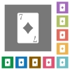 Seven of diamonds card square flat icons - Seven of diamonds card flat icons on simple color square backgrounds